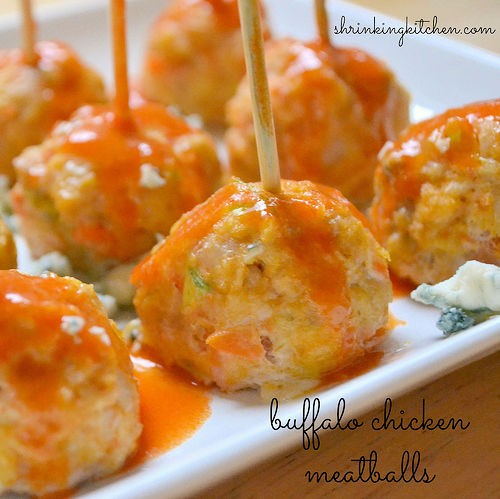 Buffalo Chicken Meatballs - Shrinking Kitchen
